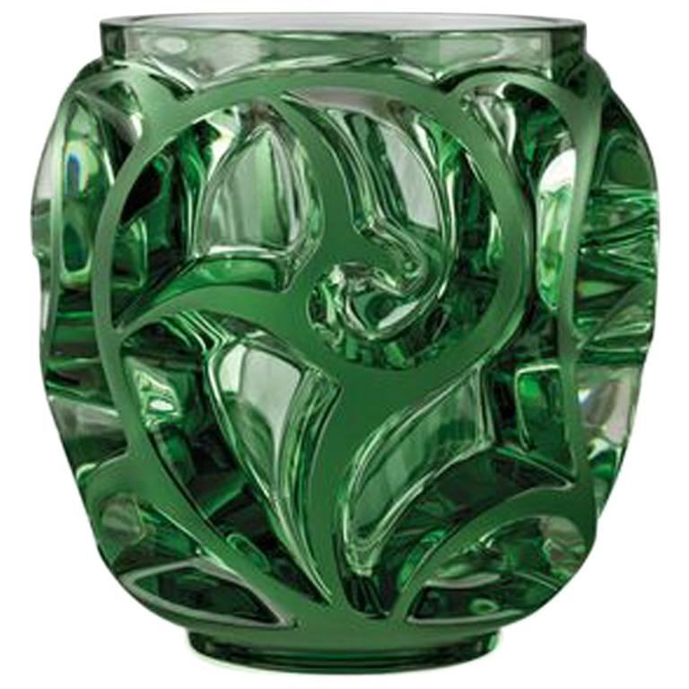 Lalique Small Tourbillons Vase In Green Crystal For Sale At 1stdibs