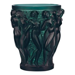 Lalique Bacchantes Vase in Deep Green Crystal