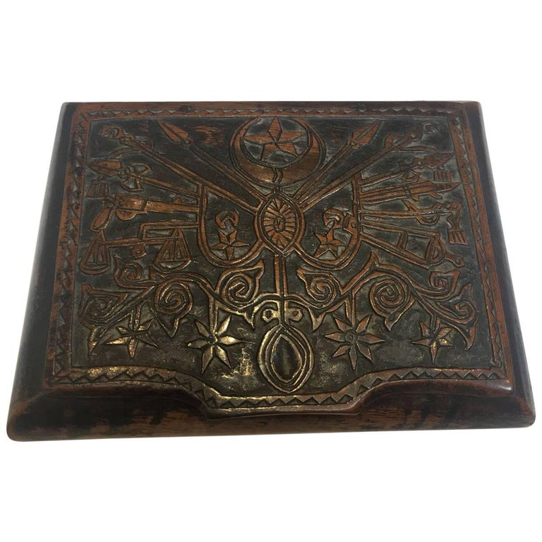 19th Century, Small Turkish Wooden Box with Engraved Lid