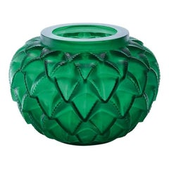 Lalique Languedoc Vase in Green Crystal