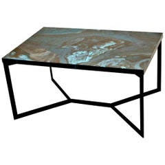 "Contemporary Resin Coffee Table ""Emeralds of Africa"" on Black Satin Steel Base"