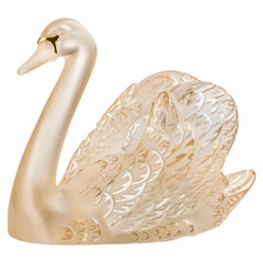 Lalique Swan Head Up Figure in Gold Luster Crystal