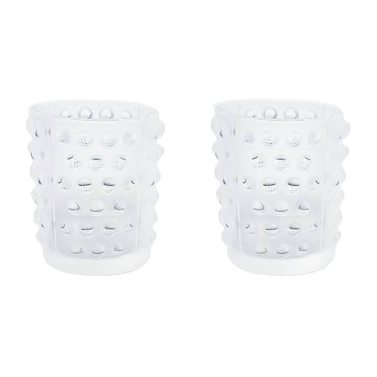 Lalique Mossi Set of Two Votives in Clear Crystal