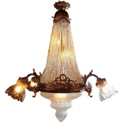 Antique Sac De Pearl Chandelier with Victorian Cut Glass, Early 20th Century
