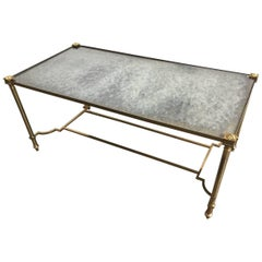 Nice Coffee or Side Table with Cloudy Mirrored Glass Top and Gilded Metal Base