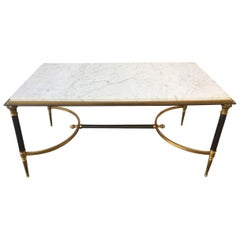 Rare Directoire Coffee Table with Unusual Marble Top by Maison Charles