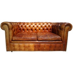 Vintage Midcentury Cognac Leather Two-Seat Chesterfield Sofa