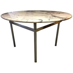Dining Table with Wonderful Marble Top and Matt Chromed Base