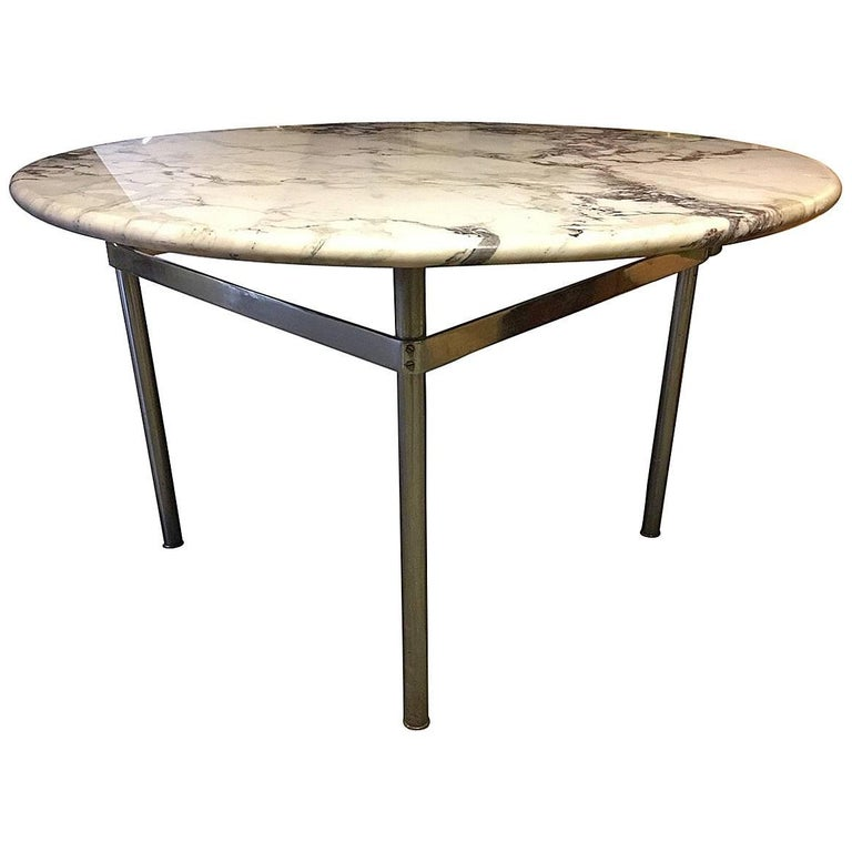 Dining Table with Wonderful Marble Top and Matt Chromed Base For Sale