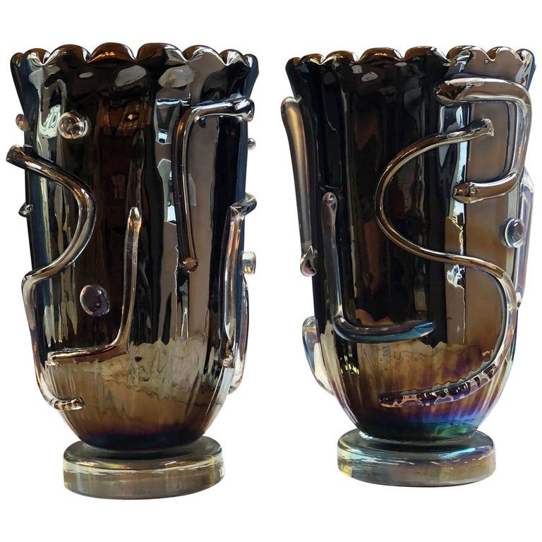 Late 20th Century Pair of Licorice Black Murano Glass Vases by Costantini
