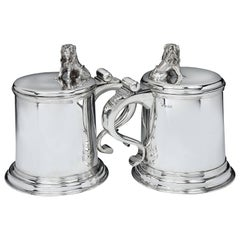 Massive and Heavy Sterling Silver 'Lion' Tankards