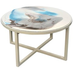"Contemporary Resin Coffee Table ""Seashells"" on Off-White Satin Steel Base"