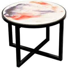 "Contemporary Resin Coffee Table ""Sunset Clouds"" on Black Matte Steel Base"