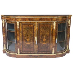 Antique Victorian Walnut Inlaid Four-Door Credenza, 19th Century