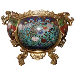 French 19th Century Ormolu and Cloisonné Enamel Japonisme Cache-Pot