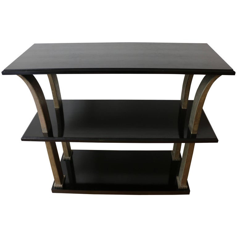 Stunning Metal and Wood Console by Edgar Brandt, Art Deco, France, 1920s