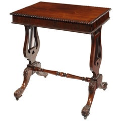 William IV Rosewood Lyre End Work Table Attributed to Gillows