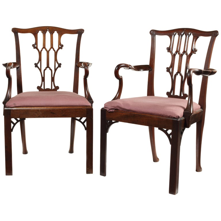 Pair of Late 19th Century Chippendale Gothic Style Open Armchairs For Sale