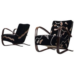 Exclusive Hand Embroidered Jindrich Halabala Lounge Chairs