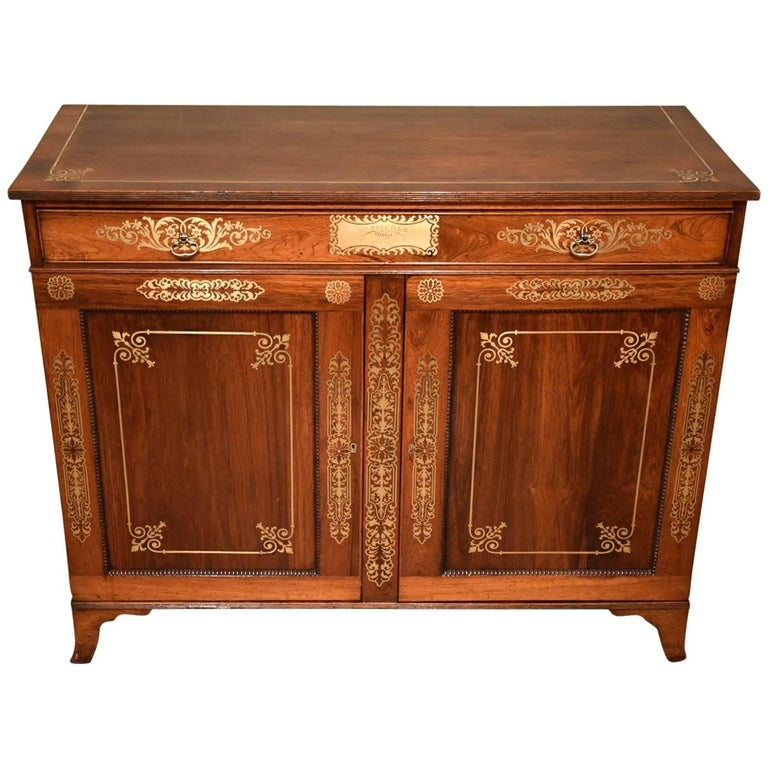 Fine Regency Period Rosewood Brass Inlaid Side Cabinet by Pitcher For Sale