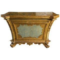 Italian 18th Century Parcel-Gilt and Painted Two-Door Cabinet