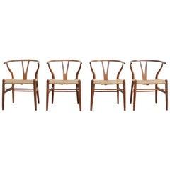 Set of Four Wishbone Chairs by Hans J. Wegner for Carl Hansen