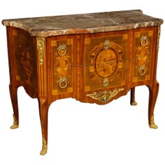 French Dresser in Inlaid Wood with Marble Top in Louis XV Style 20th Century