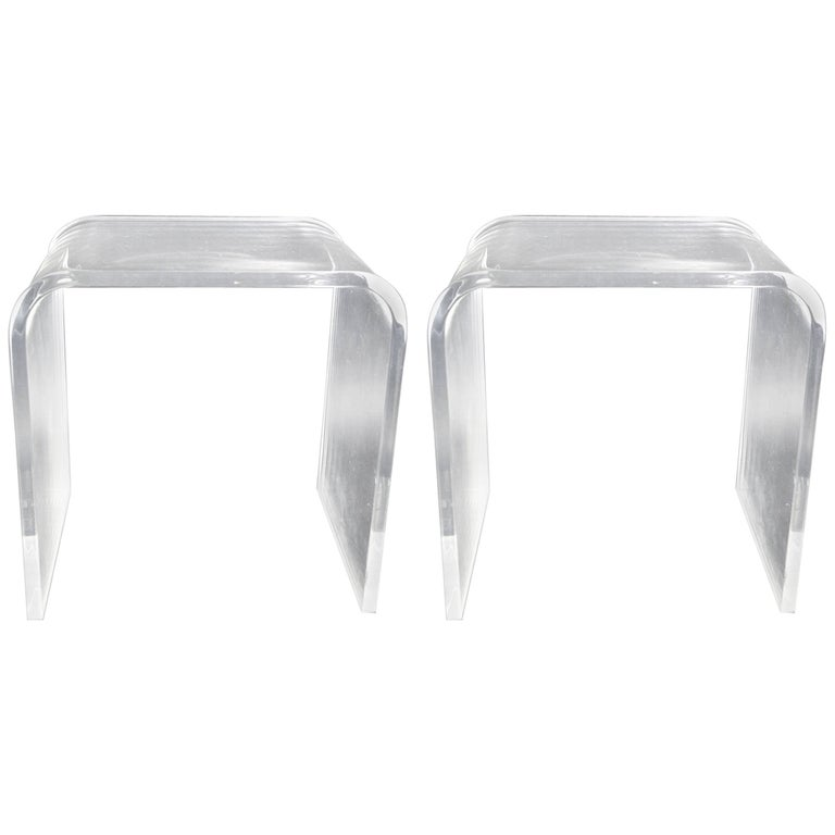Pair of Lucite Waterfall Side Tables
