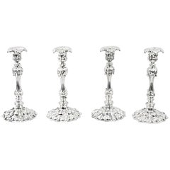 Antique Set of Four Silver Plate Candlesticks by Elkington & Co, 19th Century