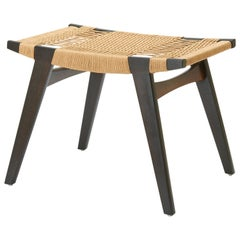 Contemporary Pi Stool, Bog Oak Frame, Matt Oil-Finish, Danish Cord Seat