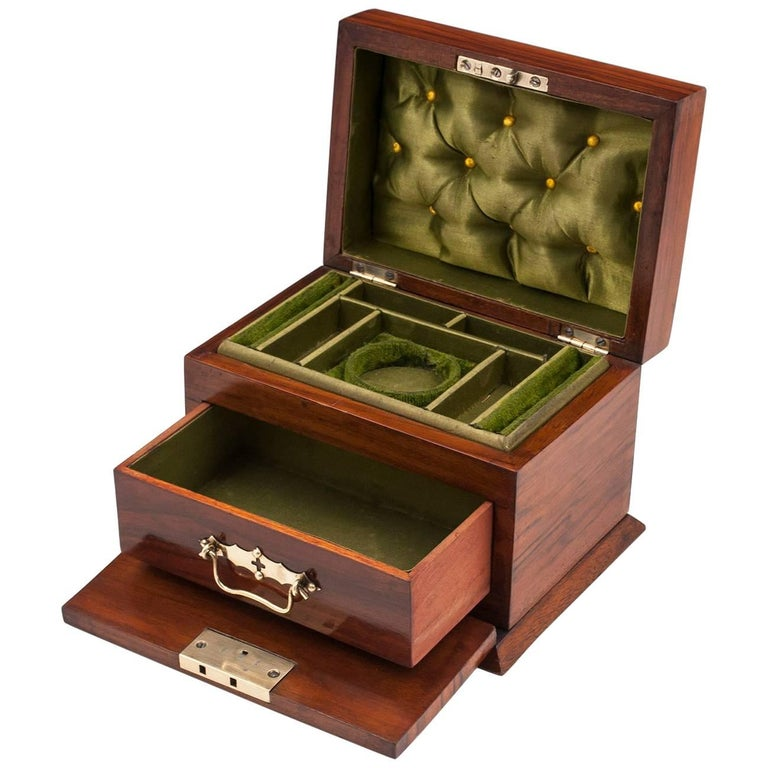 Small Antique Walnut and Brass Jewelry Box