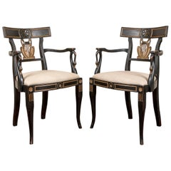 Pair of Vintage Ebonized Lyre Back Armchairs