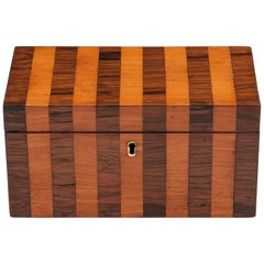 Antique Mahogany and Satinwood Striped Tea Caddy, 19th Century