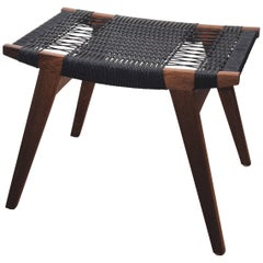 Contemporary Pi Stool, Bog Oak Frame, Matt Oil-Finish, Black Danish Cord Seat
