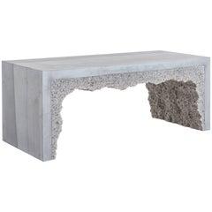 Strata 3 Bench, Grey Cement and Grey Rock Salt by Fernando Mastrangelo
