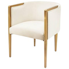 Guardian Armchair with White or Black Velvet Fabric with Satinated Gold Finish