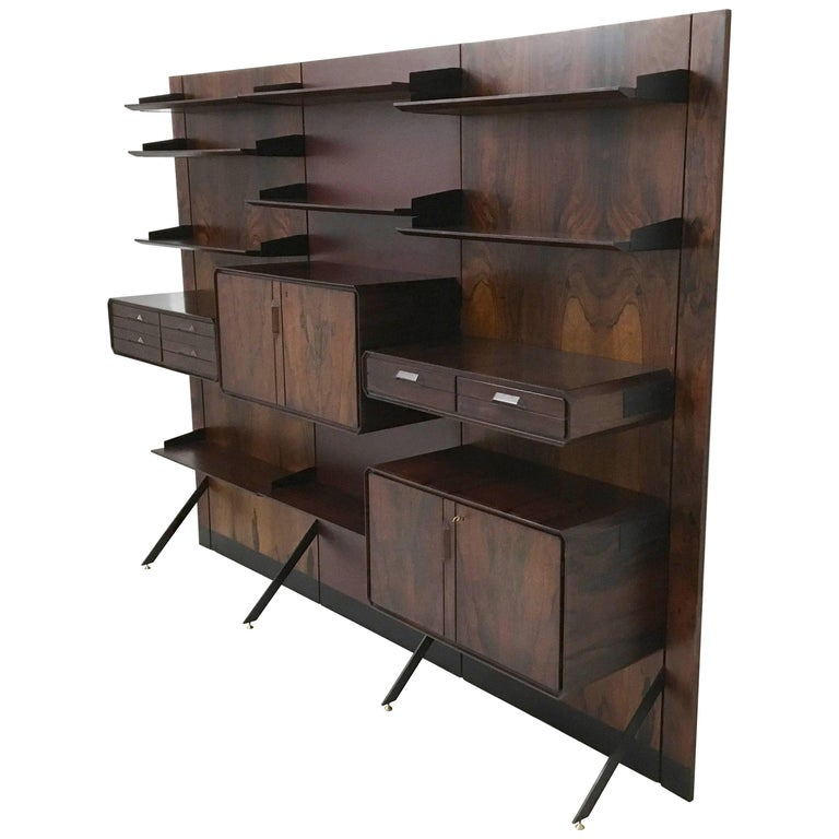 Midcentury Modern Wood, Formica, Metal and Brass Bookcase, Italy, 1960s
