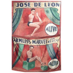 Hand Painted Circus Banner of Armless Wonder