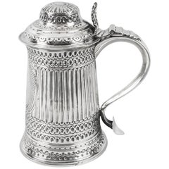 Antique George III Silver Tankard Peter & Anne Bateman London, 1793