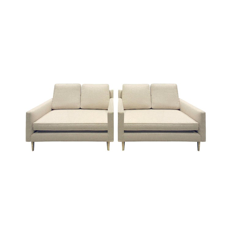 Edward Wormley Pair of Rare Settees with Conical Brass Legs, 1948 For Sale