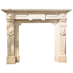 White Marble Fireplace Mantel, 19th Century