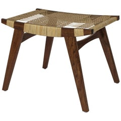 Contemporary pi Stool Fumed Oak Frame, Oil Finished, Split Willow Skein Seat