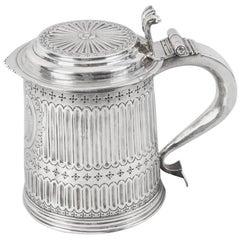 "Antique Queen Anne English Silver Lidded Tankard ""LE"" 1703"