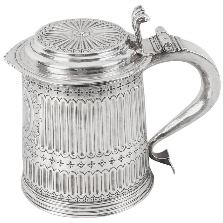 """Antique Queen Anne English Silver Lidded Tankard """"LE"""" 1703 For Sale"""