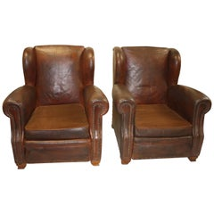Magnificent Pair of 19th Century French Club Chairs
