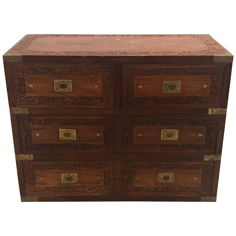 Anglo Indian Campaign Chest Desk Organizer