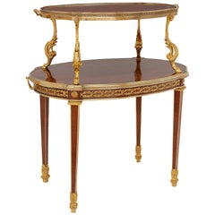 Belle Époque Gilt Bronze and Mahogany Two-Tiered Tea Table by Maison Mottheau