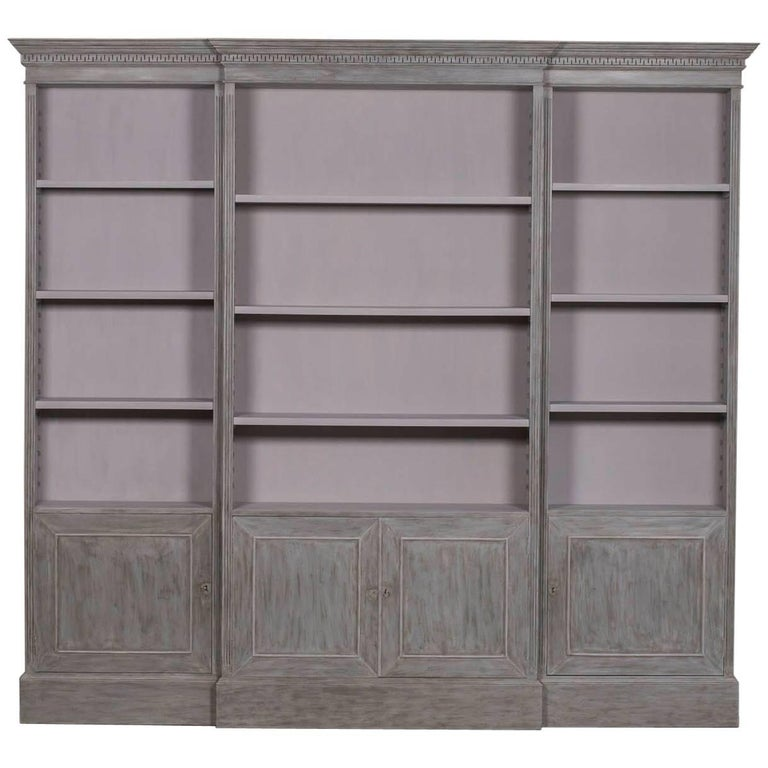 Neoclassical Painted French Bibliotheque Display Cabinet Bookcase, circa 1995