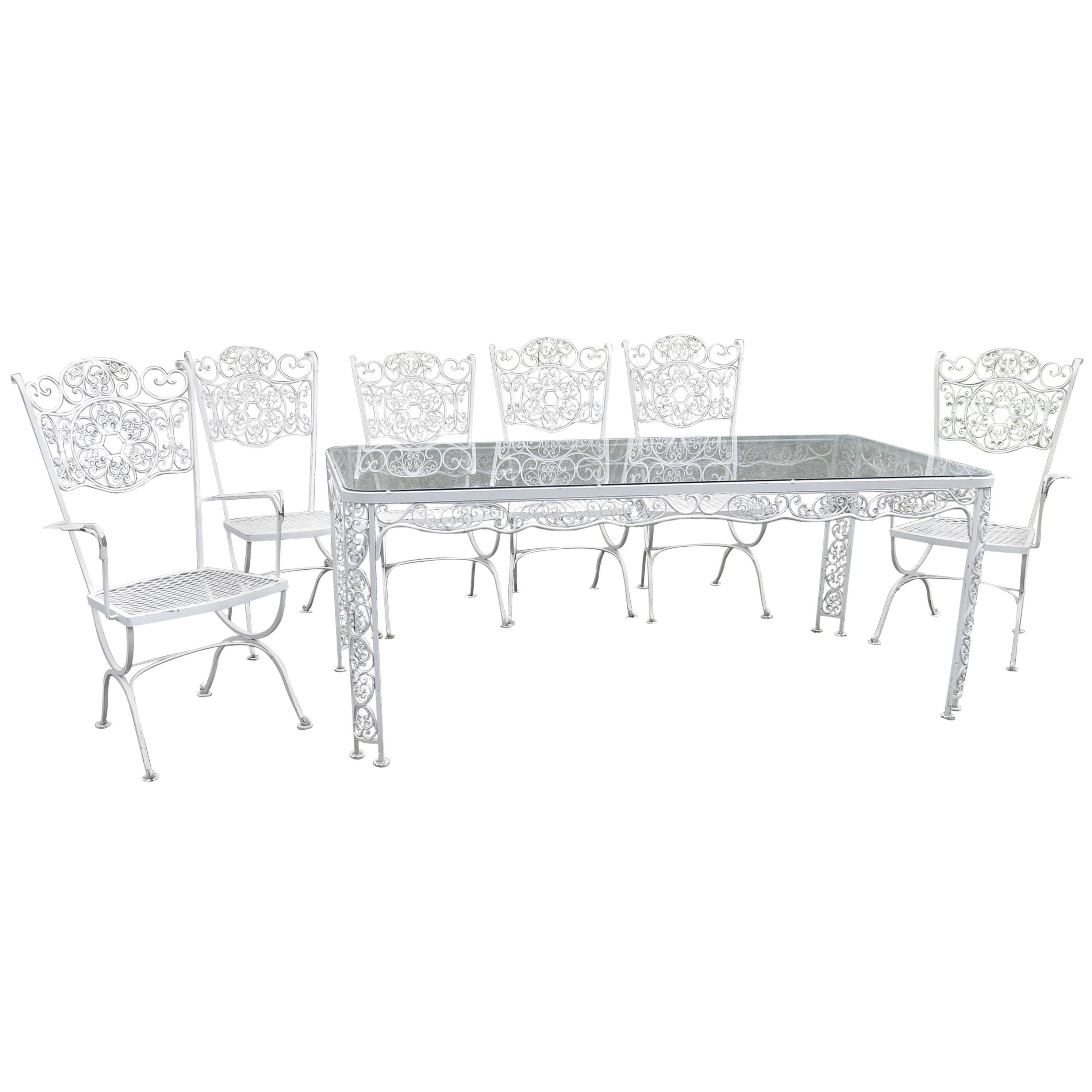 Woodard Andalusian Dining Set Cast Iron Patio Set Of Seven Pieces For Sale