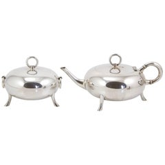 Art Nouveau Silver Sterling Egoiste Tea Set by Ravaud, circa 1900